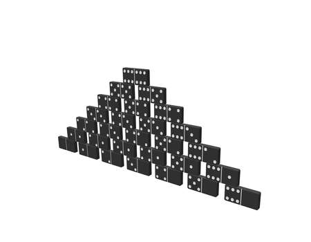 Pyramid of dominoes.  Isolated on white background. 3d Vector illustration.  Stock Illustratie