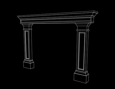 Arch from pilasters. Vector outline illustration.
