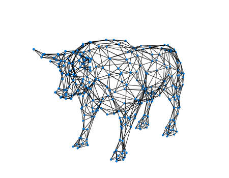 Abstract polygonal bull. Molecular lattice. Isolated on white background. 3d Vector illustration.