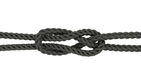 Rope Sheet Bend.Isolated on white background.3D rendering illustration.