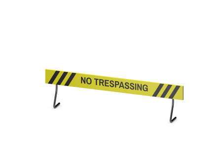 No Trespassing sign. Isolated on white background. 3D rendering illustration. Dimetric projection.