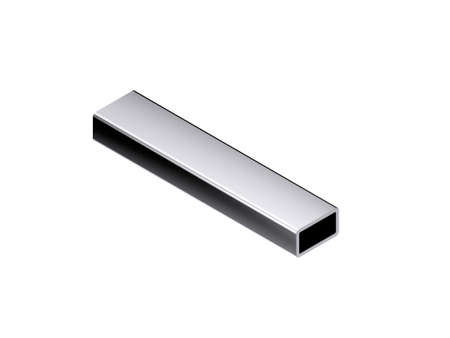 Metal rectangle tube. Isolated on white background. 3D rendering illustration. Isometric projection.