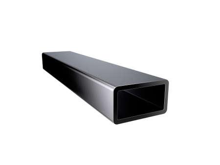 Metal rectangle tube. Isolated on white background. 3D rendering illustration.