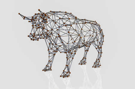 Abstract polygonal bull. Molecular metallic lattice. 3D rendering illustration. Archivio Fotografico - 114846381