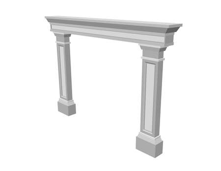 Arch from pilasters. Isolated on white background. 3d Vector illustration.