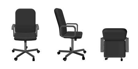 Bürostuhl. Isoliert auf weißem Hintergrund. 3D-Vektor-Illustration. Verschiedene Ansichten.