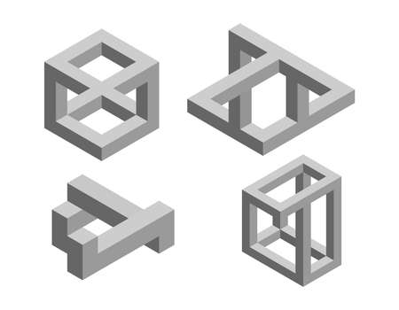 Impossible object set No7. Isolated on white background. 3d Vector illustration.