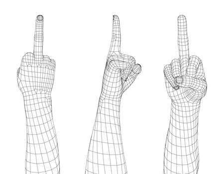 Hand gesture. Fuck you sign. Isolated on white background. Vector wireframe illustration. Illustration