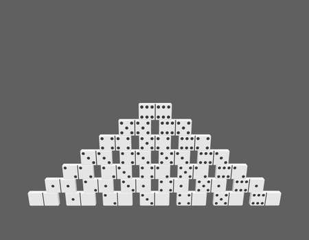 Pyramid of dominoes.  Isolated on grey background. 3d Vector illustration. Front view.