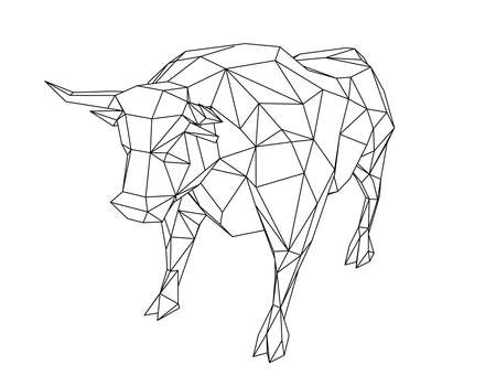 Abstract polygonal bull. Isolated on white background. Vector outline illustration.