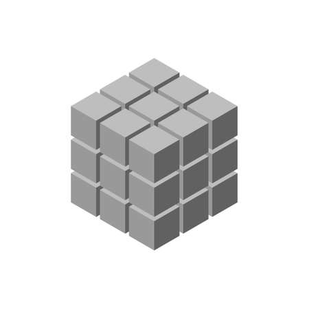 Abstract 3d cube from cubes. Isolated on white background. Isometric projection. Vector illustration. Vectores