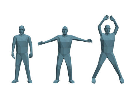 Low poly man doing Jumping Jacks. Isolated on white background. 3d vector illustration. Vektorové ilustrace