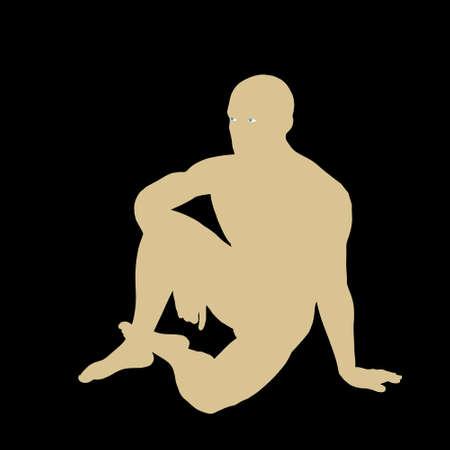Hombre sentado en el suelo. Ilustración de silueta de vector.