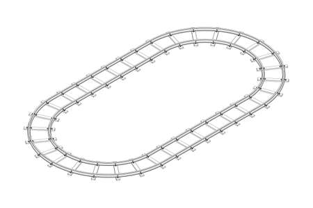 Railway track frame. Isolated on white background. Vector outline illustration. Isometric projection.