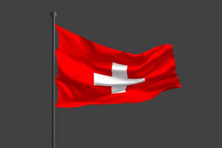 Waving flag of Switzerland. 3D rendering illustration. Standard-Bild - 125108476