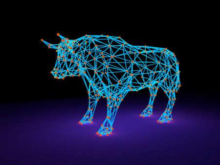 Abstract polygonal bull. Molecular lattice. 3D rendering illustration. Luminance effect. 版權商用圖片