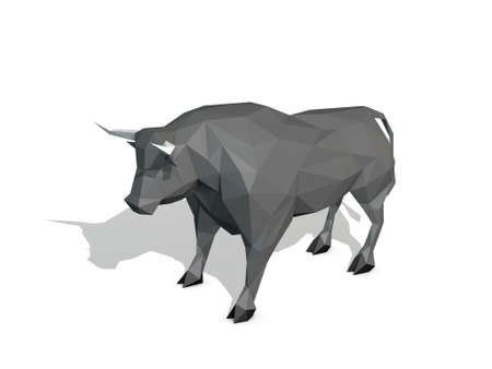 Abstract polygonal bull. Isolated on white background. 3D rendering illustration.
