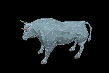 Abstract polygonal bull. Isolated on black background. 3d Vector illustration. Stock Illustratie