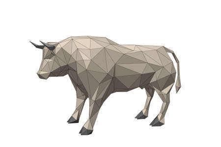 Abstract polygonal bull. Isolated on white background. 3d Vector illustration. Stock Illustratie