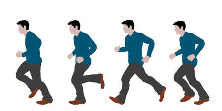 Running man. Isolated on white background. Vector illustration. Flat style.  イラスト・ベクター素材