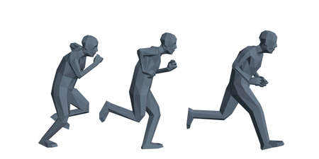 Low poly men running. Isolated on white background. 3d vector illustration.