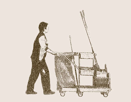 Cleaning lady with janitor cart. Vector illustration. Pointillism style.