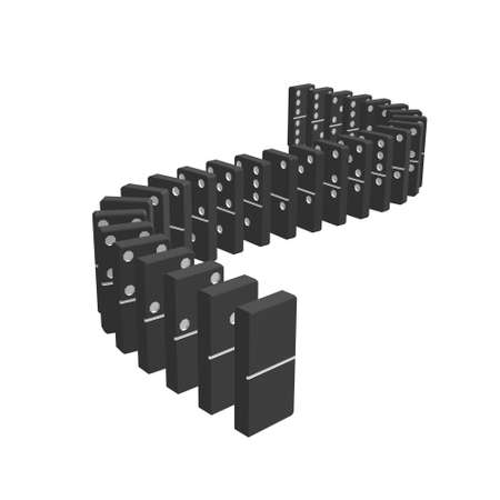 Dominoes. Isolated on white background.3d Vector illustration.