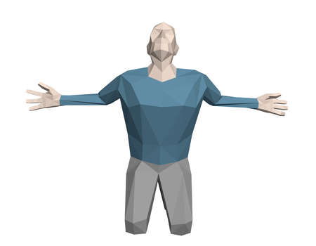 Low poly man praying. Isolated on white background. 3d vector illustration.