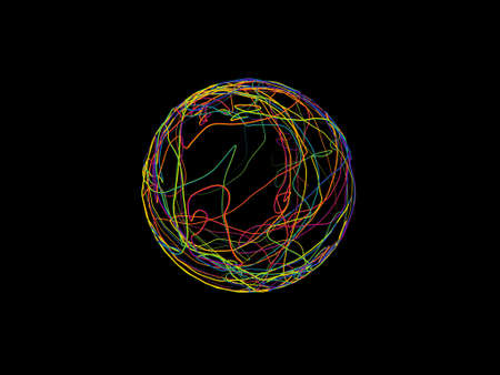 Abstract sphere of colorful curved lines. Isolated on black background. 3D rendering illustration.
