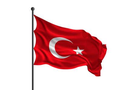 Waving flag of Turkey. 3D rendering illustration.