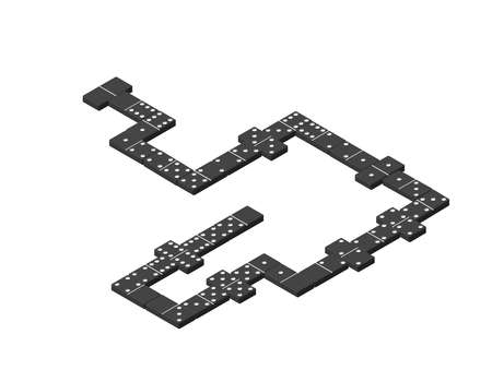 Dominoes. Isolated on white background. 3d Vector illustration.Isometric projection.