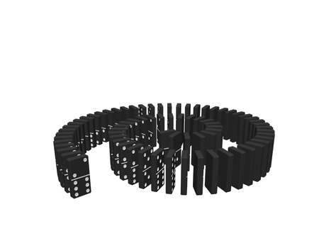Spiral of dominoes. Isolated on white background.3d Vector illustration.