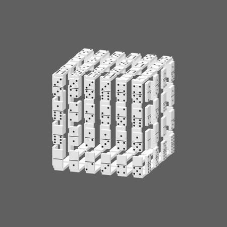 Cube of dominoes.  Isolated on grey background. 3d Vector illustration. Dimetric projection.