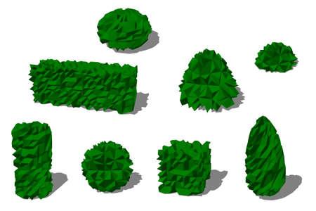 Satz verschiedene Büsche. Isoliert auf weißem Hintergrund. 3D-Low-Poly-Vektor-Illustration.