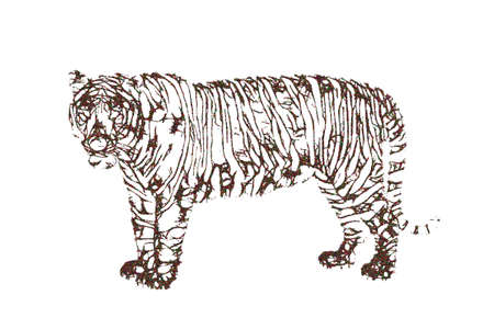 Abstract Tiger. Vector illustration. Pointillism sketch style.