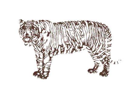 Abstract Tiger. Vector illustration. Pointillism sketch style.