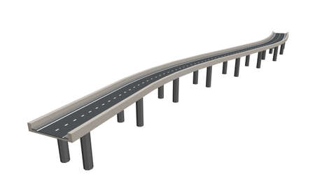 Curved road on supports. 3d Vector illustration. Isolated on white background. 일러스트
