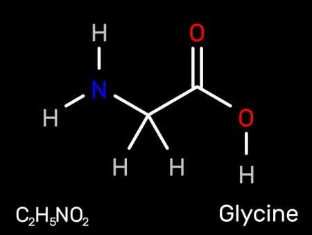 Glycine amino acid structural formula. Vector illustration.