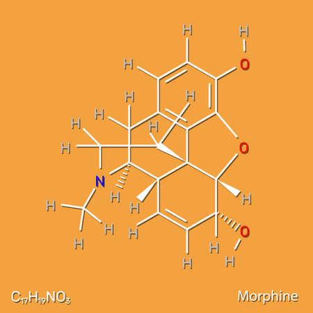 Morphine pain drug structural formula. Vector illustration.