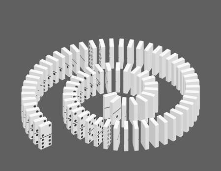 Spiral of dominoes. Isolated on grey background. 3d Vector illustration. Isometric projection.
