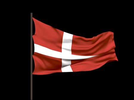 Waving flag of  Denmark. Vector illustration. No gradient, no gradient mesh. Иллюстрация