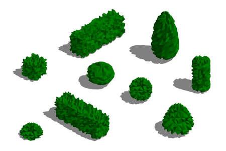 Satz verschiedene Büsche. Isoliert auf weißem Hintergrund. 3D-Low-Poly-Vektor-Illustration. Isometrische Projektion.