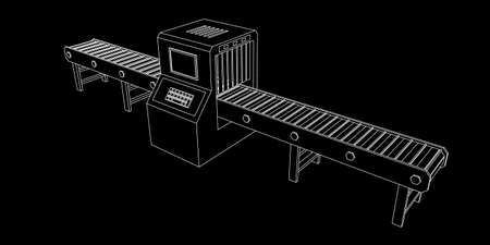 Empty conveyor belt with monitor. Vector outline illustration.