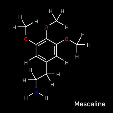 Mescaline psychedelic structural formula. Vector illustration.
