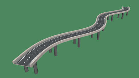 Curved road on supports. 3d Vector illustration.