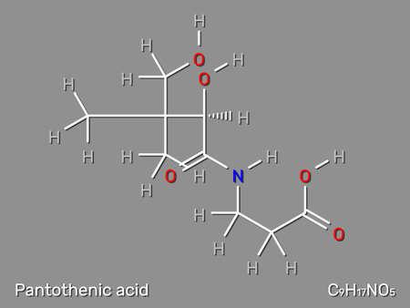 Pantothenic acid (Vitamin B5, pantothenate) structural formula. Vector illustration.