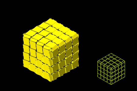 Abstract polygonal broken cube. Isolated on black background. 3d Vector illustration. Isometric projection.