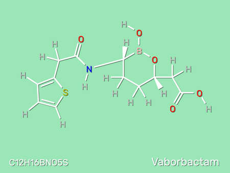 Vaborbactam drug structural formula. Vector illustration.