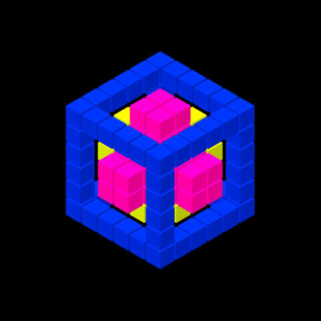 Abstract 3d cube from cubes. Isolated on black background. Vector illustration. Isometric projection.