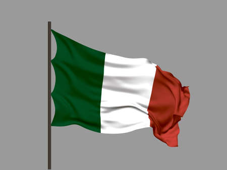 Waving flag of Italy. Vector illustration. No gradient, no gradient mesh. Ilustração
